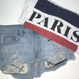 american eagle light wash ripped shorts